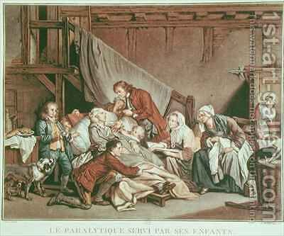 The Paralytic Man Helped by his Children by (after) Greuze, Jean Baptiste - Reproduction Oil Painting