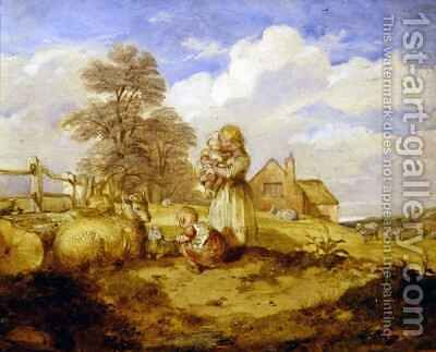 Children and Sheep Under a Tree by Alfred H. Green - Reproduction Oil Painting