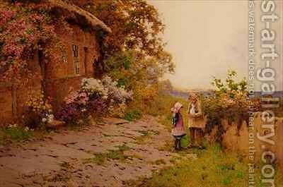 Two Children with a Rabbit Outside a Cottage by the Sea by J.A. Lynas Gray - Reproduction Oil Painting