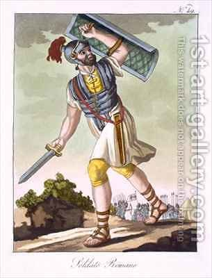 A Roman foot soldier from Antique Rome by (after) Grasset de Saint-Sauveur, Jacques - Reproduction Oil Painting