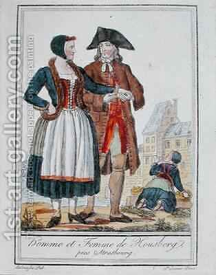 Inhabitants of Housberg near Strasbourg by (after) Grasset de Saint-Sauveur, Jacques - Reproduction Oil Painting