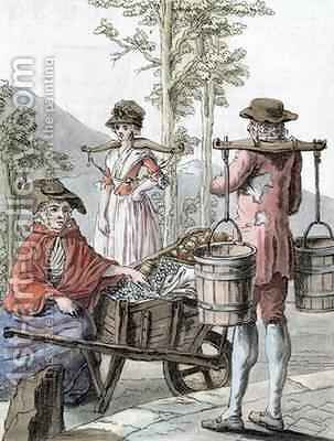 English Peasants Selling Fruit and Carrying Milk by (after) Grasset de Saint-Sauveur, Jacques - Reproduction Oil Painting