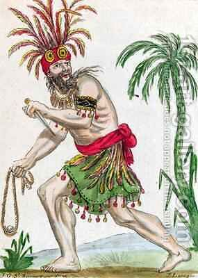 A Savage from the Marquesas Islands by (after) Grasset de Saint-Sauveur, Jacques - Reproduction Oil Painting