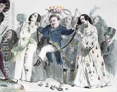 Caricature of Honore de Balzac 1799-1850 by (after) Granville - Reproduction Oil Painting