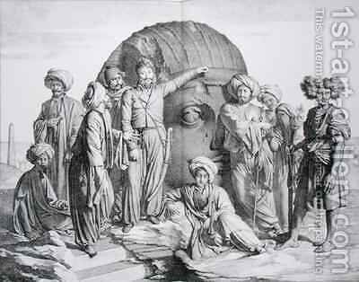 Monsieur Drovetti and his followers using a plumb line to measure a colossal head in the Egyptian desert 2 by (after) Granger - Reproduction Oil Painting