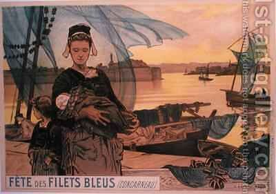 Poster depicting the Festival of Blue Fishing Nets Concarneau Brittany by Achille Granchi-Taylor - Reproduction Oil Painting