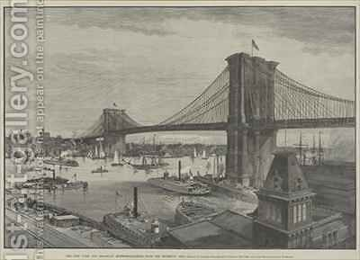 The New York and Brooklyn Suspension Bridge from the Brooklyn Side by Charles Graham - Reproduction Oil Painting