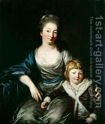 Johanna Amalie Countess Senfft von Pilsach with her son Henry by Anton Graff - Reproduction Oil Painting