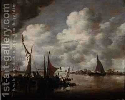 Fishermen raising lobster pots by Jan van Goyen - Reproduction Oil Painting