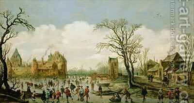 Winter Landscape with a Walled Castle by Jan van Goyen - Reproduction Oil Painting