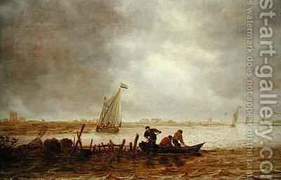 View of an Estuary with a Fishing Boat by Jan van Goyen - Reproduction Oil Painting