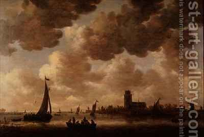 View of Dordrecht Downstream from the Grote Kerk by Jan van Goyen - Reproduction Oil Painting