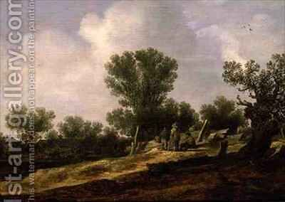 Landscape with figures resting by Jan van Goyen - Reproduction Oil Painting