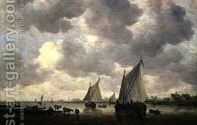 A Canal in Holland or Two Large Sailing Ships and Cattle Near a River by Jan van Goyen - Reproduction Oil Painting