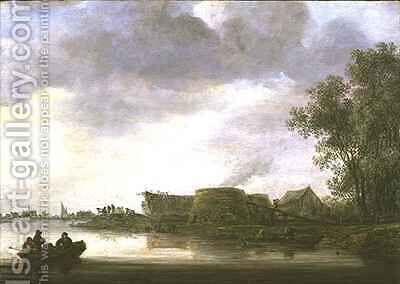 Lime Kilns in a River Landscape by Jan van Goyen - Reproduction Oil Painting