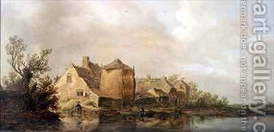 River Scene with an Inn by Jan van Goyen - Reproduction Oil Painting