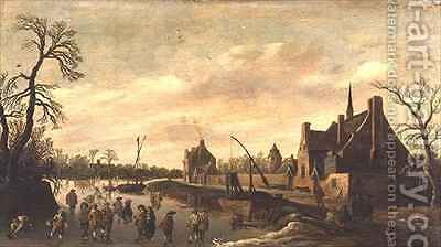Frozen River Landscape with Skaters by Jan van Goyen - Reproduction Oil Painting