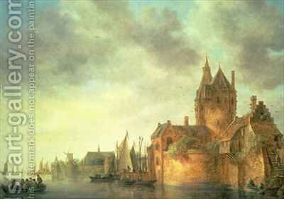 A castle by a river with shipping at a quay 2 by Jan van Goyen - Reproduction Oil Painting