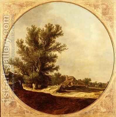 Oak Tree on a Country Lane with Travellers by Jan van Goyen - Reproduction Oil Painting