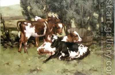 Three Calves by David Gould - Reproduction Oil Painting