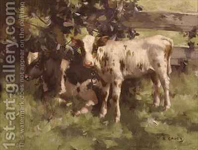 Calves Under a Tree by David Gould - Reproduction Oil Painting