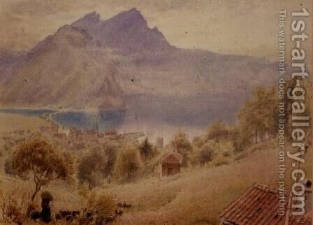 Pilatus from Stanstadt Switzerland by Albert Goodwin - Reproduction Oil Painting