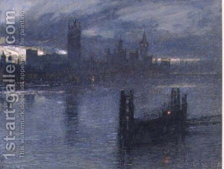 Westminster from Lambeth Bridge by Albert Goodwin - Reproduction Oil Painting
