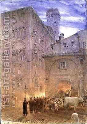 Lucca Tuscany religious processsion cart cow by Albert Goodwin - Reproduction Oil Painting