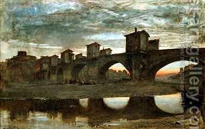 The Ponte alla Grecia before Demolition Florence by Albert Goodwin - Reproduction Oil Painting