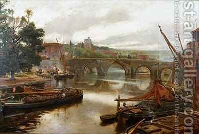 The Old Bridge Maidstone View Looking South by Albert Goodwin - Reproduction Oil Painting