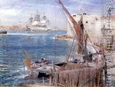 The Victory at Portsmouth by Albert Goodwin - Reproduction Oil Painting