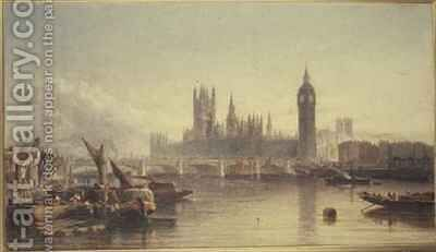 The Houses of Parliament and Westminster Bridge by Edward Angelo Goodall - Reproduction Oil Painting
