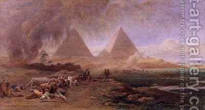 A Caravan Overtaken by a Sandstorm Egypt by Edward Angelo Goodall - Reproduction Oil Painting