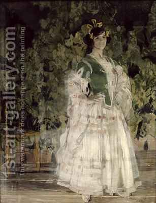 Portrait of Maria Kusnetsova Benois as Carmen by Aleksandr Jakovlevic Golovin - Reproduction Oil Painting