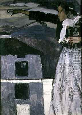 Woman in Grey by Aleksandr Jakovlevic Golovin - Reproduction Oil Painting