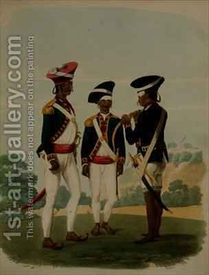 Officers and Private of the Gurcasear Corps Madras by (after) Gold, Charles Emilius - Reproduction Oil Painting