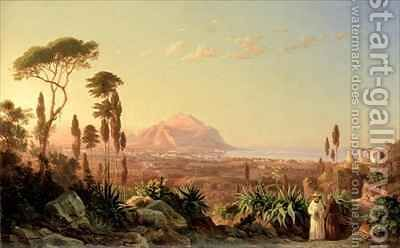 Palermo with Mount Pellegrino by Carl Wilhelm Goetzloff - Reproduction Oil Painting