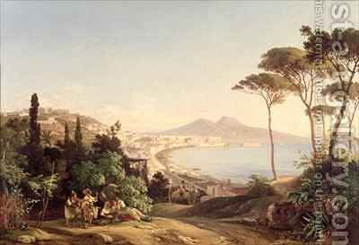 View of Naples by Carl Wilhelm Goetzloff - Reproduction Oil Painting