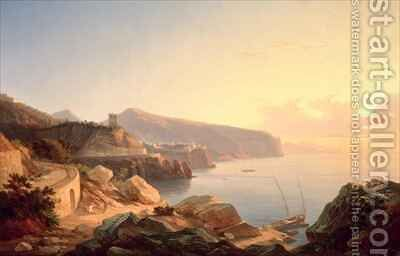 The Gulf of Sorrento near Vico by Carl Wilhelm Goetzloff - Reproduction Oil Painting