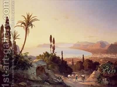 Gulf of Palermo looking towards Cape Zafferano by Carl Wilhelm Goetzloff - Reproduction Oil Painting