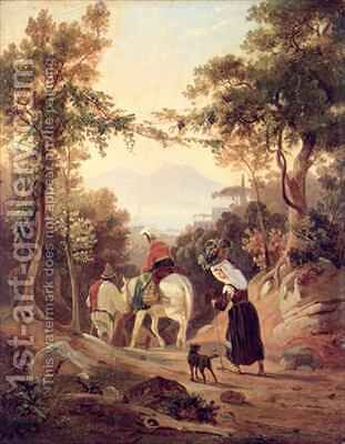 Italian Landscape with Peasants by Carl Wilhelm Goetzloff - Reproduction Oil Painting