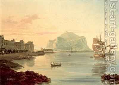 Palermo Harbour with Mount Pellegrino by Carl Wilhelm Goetzloff - Reproduction Oil Painting
