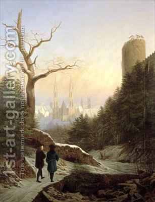 Winter Landscape with Gothic Church by Carl Wilhelm Goetzloff - Reproduction Oil Painting