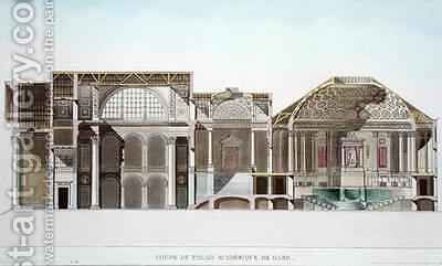 Cross Section of the Palais Academique at Ghent from Choix des Monuments Edifices et Maisons les plus remarquables du Royaume des Pays Bas by (after) Goetghebuer, Pierre Jacques - Reproduction Oil Painting