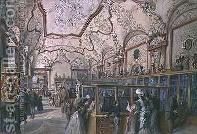 The Marble Hall of the Ambraser Gallery in the Lower Belvedere Vienna by Carl Goebel - Reproduction Oil Painting