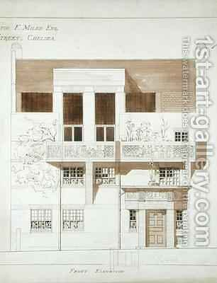 Front Elevation of Studio and House for Frank Miles 1852-91 Tite Street Chelsea by Edward William Godwin - Reproduction Oil Painting