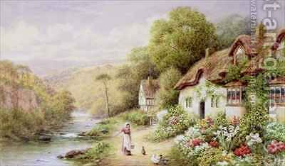 Cottages by a Stream by A.N. Glover - Reproduction Oil Painting
