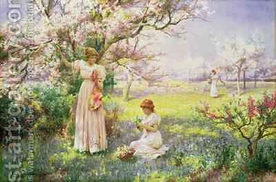 Spring Picking Flowers by Alfred Augustus I Glendenning - Reproduction Oil Painting