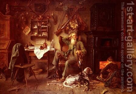 A Forester at Home by Ludwig Knaus - Reproduction Oil Painting