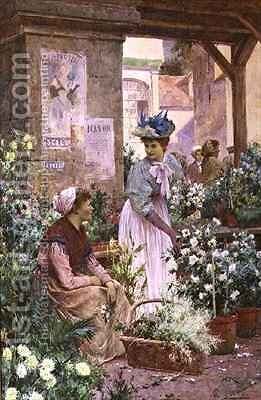 The Flower Market Boulogne by Arthur Augustus II Glendening - Reproduction Oil Painting